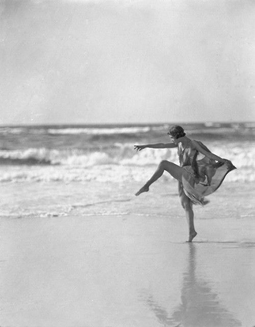 Anna Duncan [one of the Isadorables] dancing at Long Beach, Long Island,1920s by Arnold Genthe