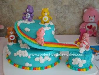 Homemade Care Bears Birthday Cake: I made this Care Bears birthday cake for my daughter's 1st Birthday. It was a Care Bears theme.  The big cake is made of two layers: Bottom is two 9 Inch