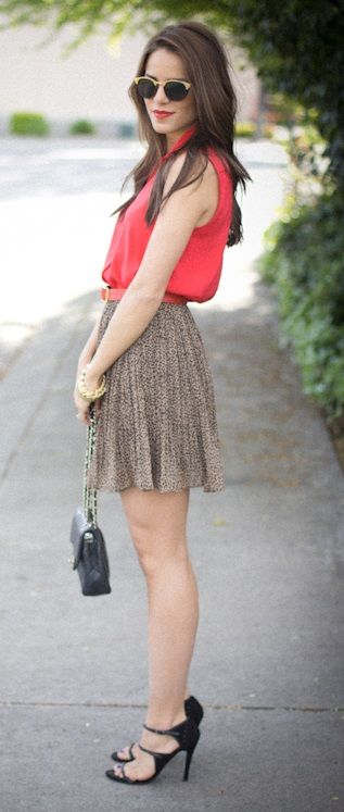 coral blouse with skirt- nice combination
