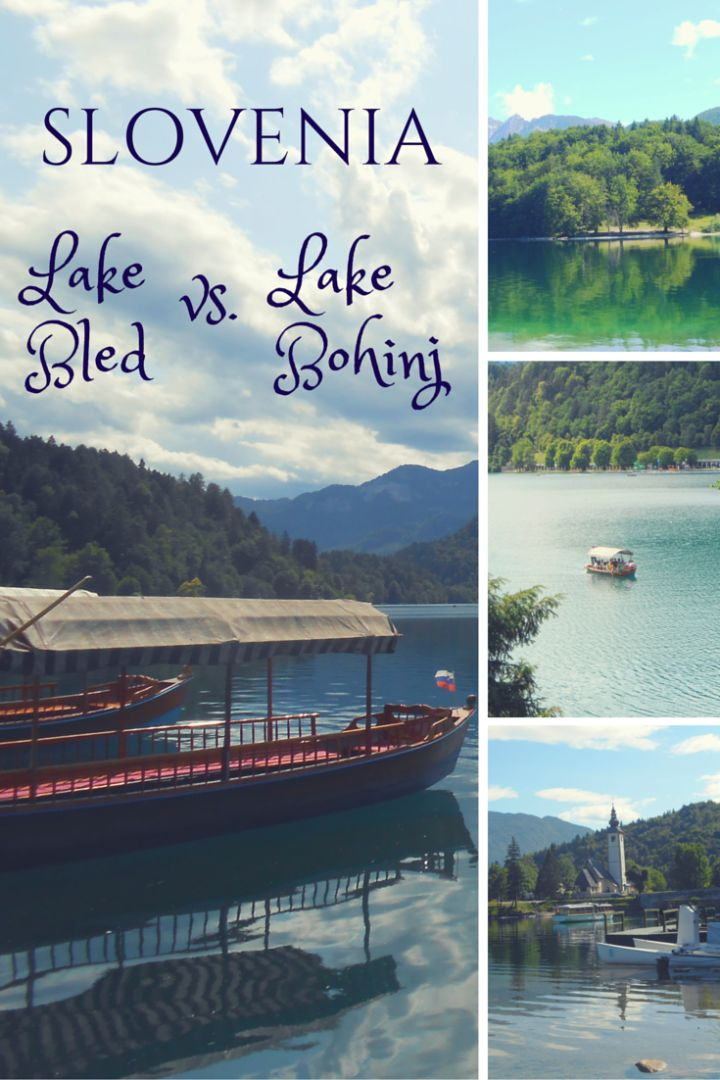 In Slovenia, both Lake Bled and Lake Bohinj are stunningly gorgeous, but have very different atmospheres. Visit both for the best of Slovenia!  Full comparison at http://thegirlandglobe.com/lake-bohinj-lake-bled-slovenia/