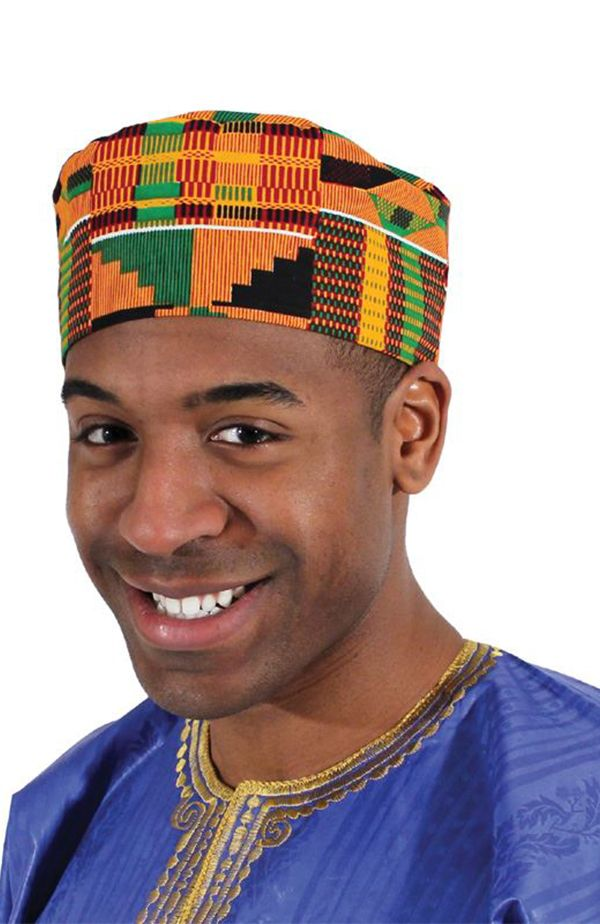African Style Kente Kufi Hat This Beautiful African Style Kente Hat Displays The Bold And Bright Patterns Of Africa African Hats Hat Fashion African Clothing