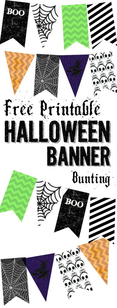 Halloween Banner Bunting Free Printable. Print this Halloween to add to your spooky Halloween decor. Spiderwebs, witches, and skeletons. Halloween decorations.