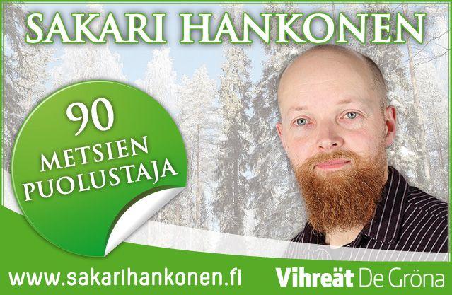 Sakari Hankosen mainosten suunnittelu #graafinensuunnittelu #vihreat #degrona #vaalit