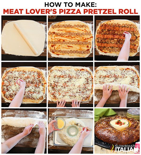 A twist on your favorite pizza that you will dream about!   Meat Lover's Pizza Pretzel Roll is the best of both world.  Your favorite pizza recipe rolled into a giant pretzel roll.  Filled with layer after layer of meat lover toppings and ooey gooey cheese.  You need to make this one! #recipe #pizza #pretzel #appetizer