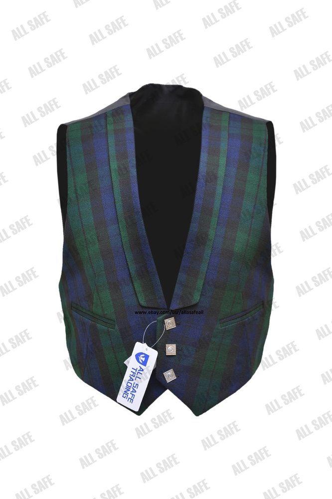 Black Watch Tartan Kilt Waistcoat/Vest - Sizes 36- 54 #AllSafe #WaistCoatVest
