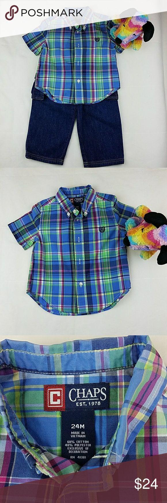 Set Plaid Chaps Shirt & Pants Set Chaps plaid shirt  Blue, green, red  Size: 24m   Garanimals cargo blue jeans  Size: 24m   Both in excellent condition. Chaps Shirts & Tops Button Down Shirts