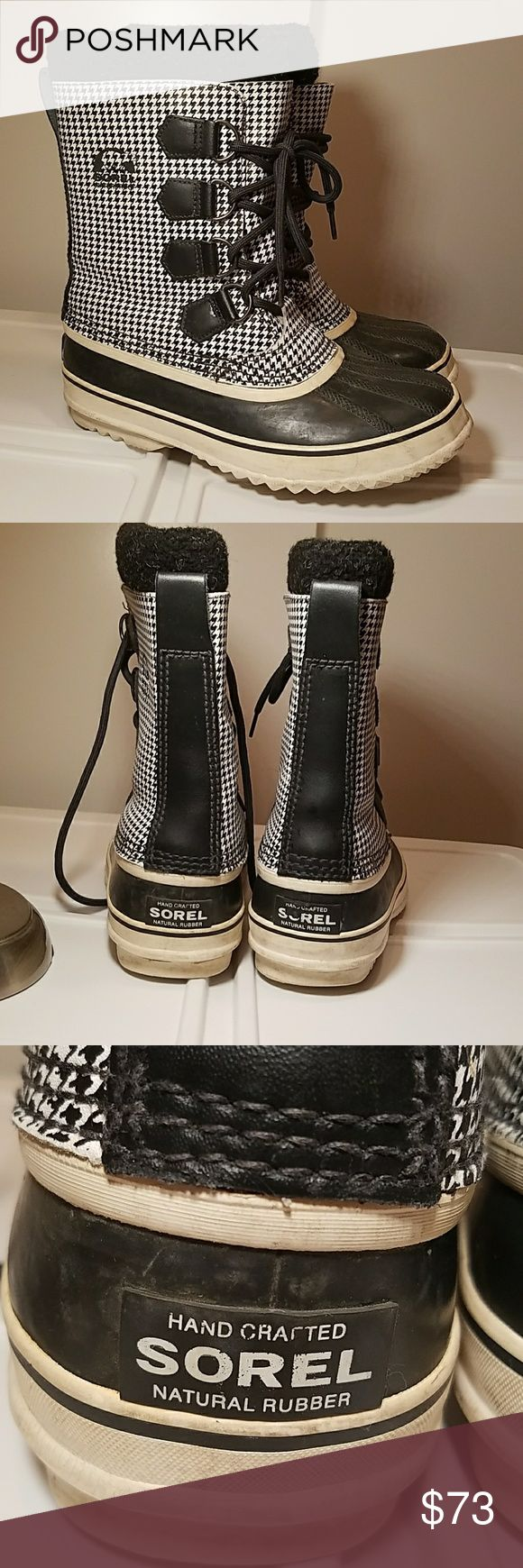 Sorel waterproof boots SOREL wateeproof winter boots rubber sole black and white checker, upper felt liner, used but still in great condition! Sorel Shoes Winter & Rain Boots