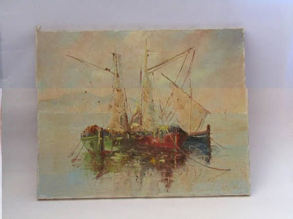 vintage Greek painting on canvas singed, original painting, fishing boats painting, boat painting, for wall, wall hanging art, wall art! Fishing boats theme. Singed as A. Mpokas 1979 artist unknown. Good condition for this small painting. Dimensions 40 cm x 50 cm. Feel free to