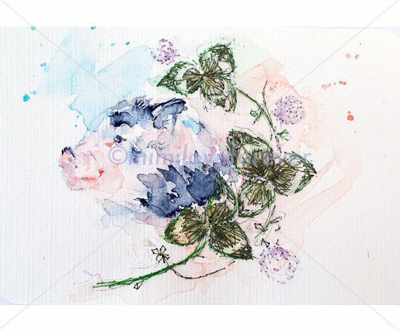 Pig Painting. Original Mixed Media Art. Hand embroidery &