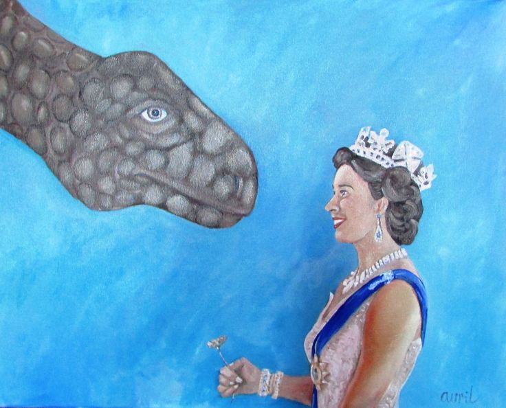 Queen Elizabeth offers a flower to her new friend the apatosaurous