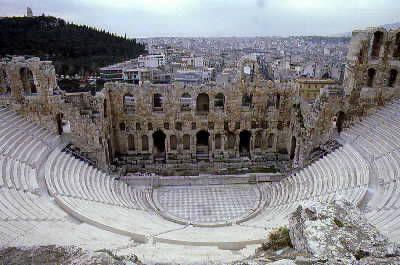 NOME:Odeon di Erode Attico DATAZIONE: II secolo (161-174) d.C.MATERIALE E TECNICA: Struttura in pietra LUOGO DI CONSERVAZIONE: Atene versante meridionale dell'acropoli.