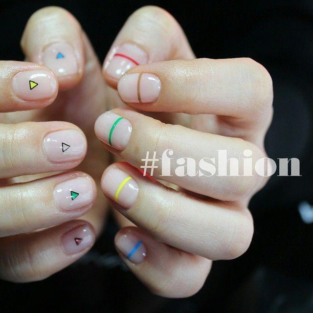 minimalistic negative space nail design
