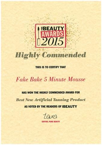 Fake Bake 5 Minute Mousse won The Highly Commended Award for Best New Artificial-Tanning Product.