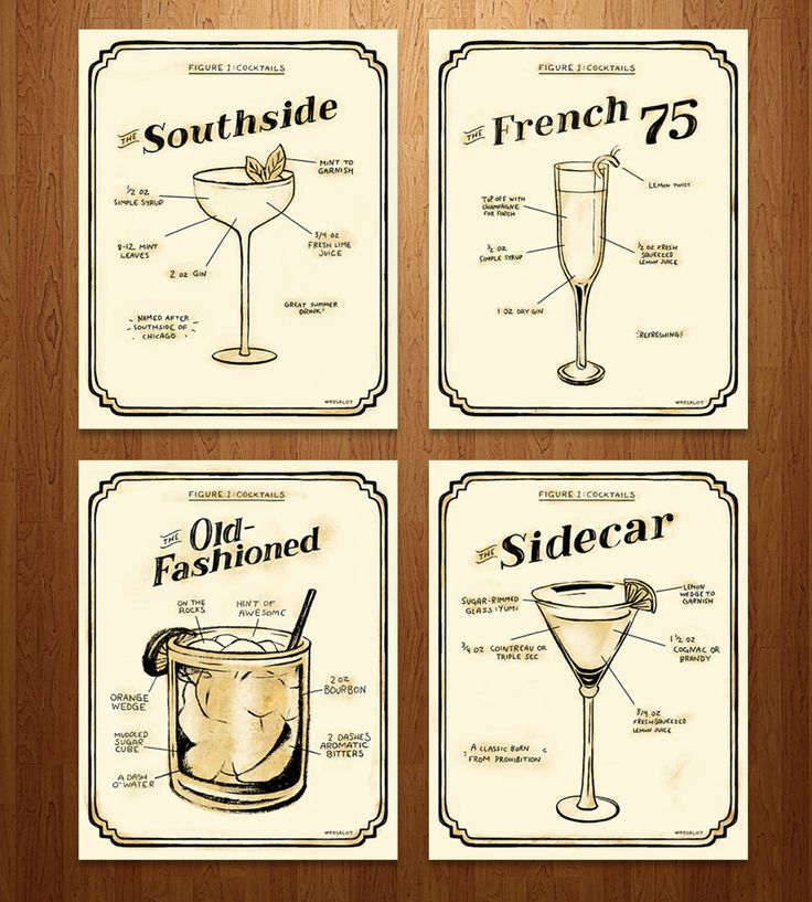 Exclusive Prohibition Era Cocktail Prints – Set of 4 by Sarah Watts on Scoutmob Shoppe. Have a handy reference at the ready for your cocktail making: Illustrated recipes for The Southside, The French 75, The Old Fashioned and The Sidecar. She made them just for us! (The prints, not the cocktails, darn it.)