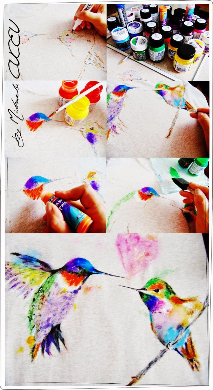 Colibri bird  - pictura manuala tricou dama!