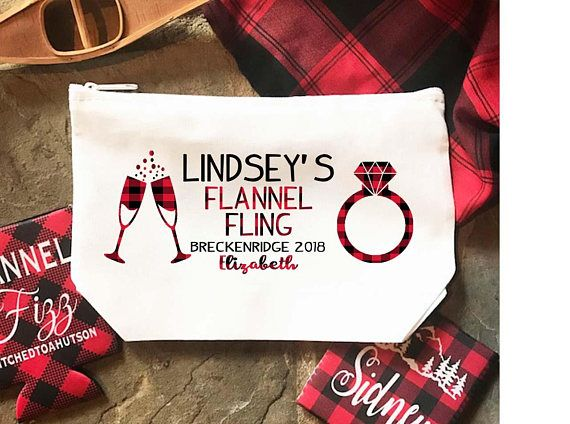 Flannel and Fizz Party Make Up bag. Great Bachelorette or