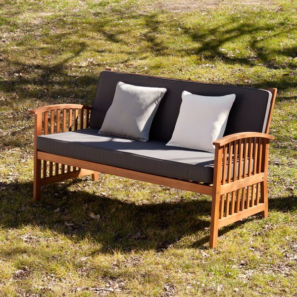 Come alive with this sleek, deep seating outdoor sofa. The slatted design adds craftsman style. Gently curving armrests and  soft cushions provide an exqusite combination of style and comfort. This outdoor sofa is made of Brazilian eucalyptus hardwood produced in an eco-friendly factory with FSC certified production lines. The fabric is fade mold and water resistant.Slight variations in natural hardwood may occur.