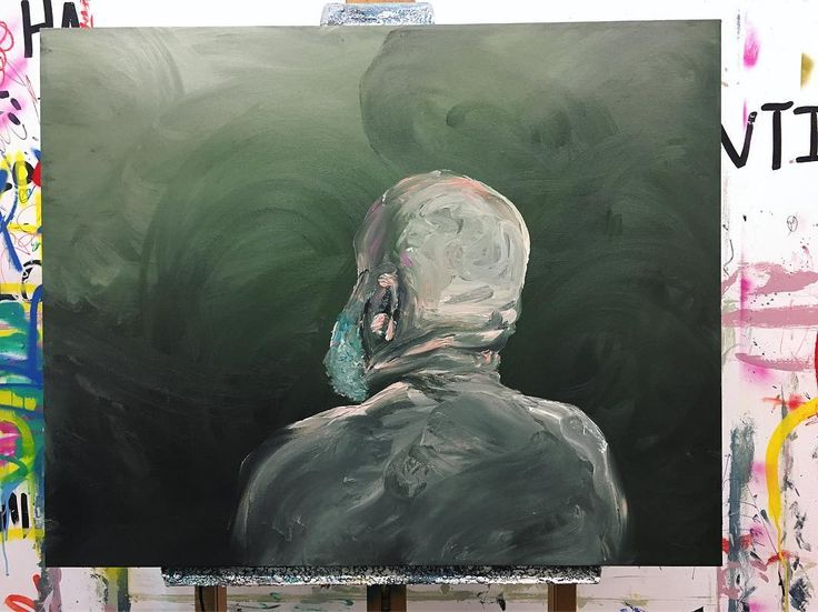 Oil finger painting / work in progress / #art #painting #oilpainting #artofvisuals #artwork #collectors #contemporaryart #portrait #beard #bald @pat_cantin_artist