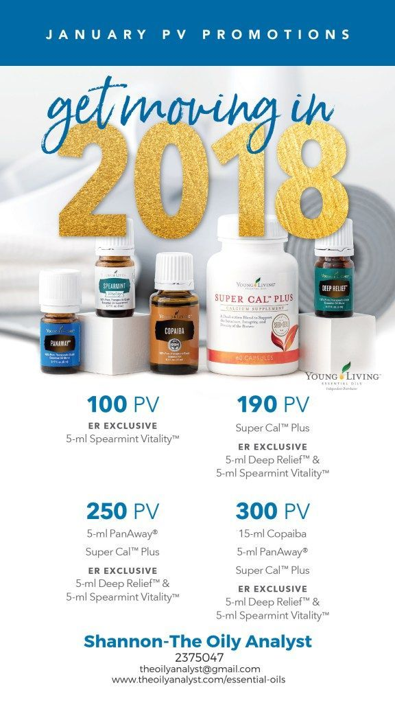 Young Living's January 2018 Promotions! Click this graphic! Ready to Join? Go to www.theoilyanalyst.com/essential-oils today! | Young Living | Essential Oils | Freebies | Promotions | Promos | Spearmint Vitality | Copaiba | Panaway | Deep Relief | Super Cal Plus | The Oily Analyst