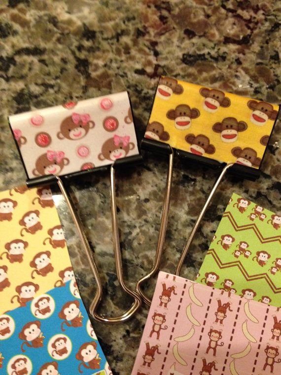 Monkey Madness - Large Decorated Binder Clips