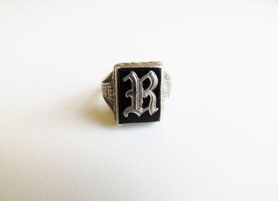 Antique Men S Signet Ring Letter R C 1920s Antiques