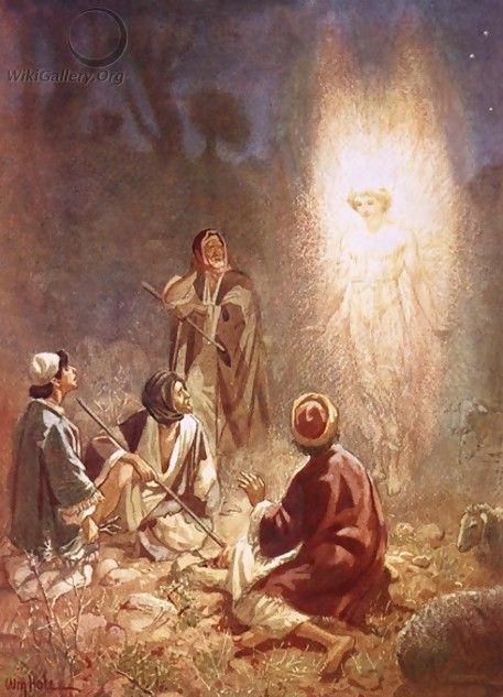 Herders in het veld vernemen 's nachts van een engel dat de messias is geboren