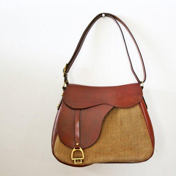 Oxblood en cuir et Tweed années 1970 Style équestre Saddle Bag