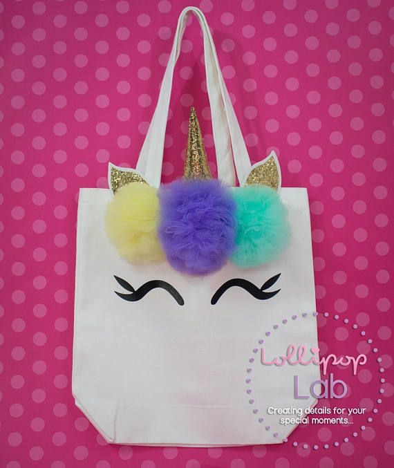 Unicorn tote bag Unicorn bag Birthday gift Medium white