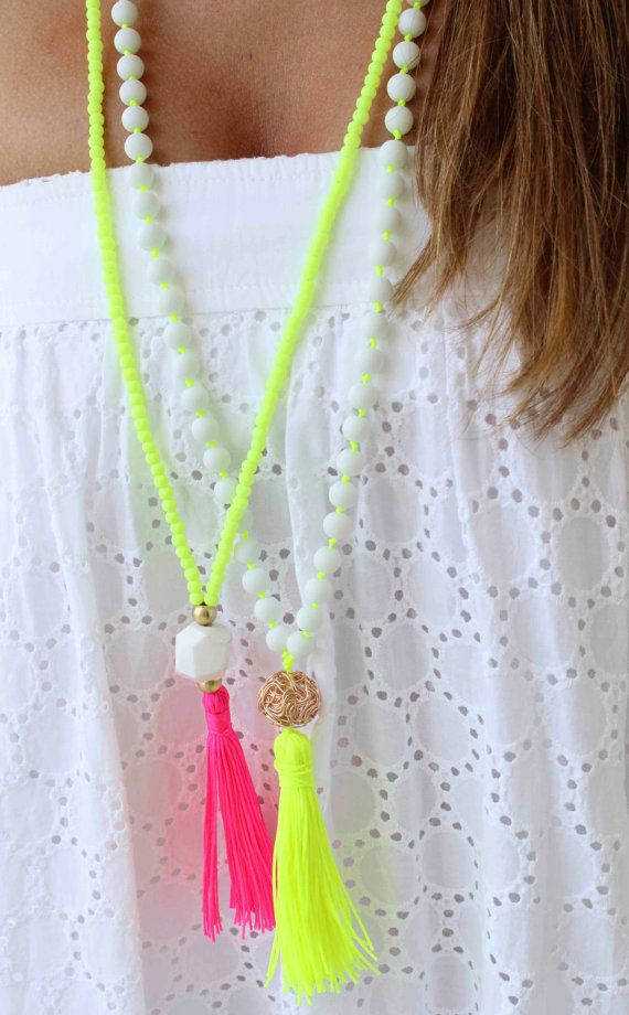 Collar largo con cuentas collar - Neon Yellow - Hot pink collar borla