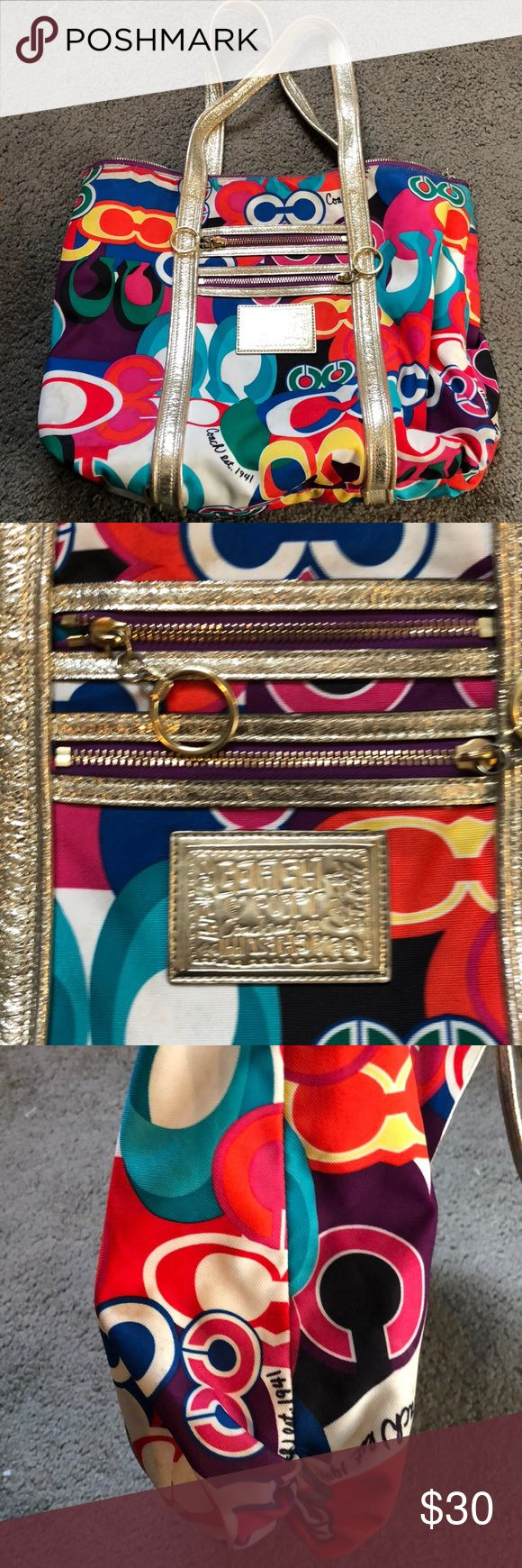 Coach purse poppy collection Multi colored coach purse. Could be cleaned Coach Bags Shoulder Bags
