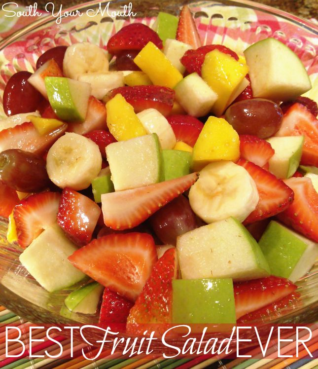 BEST Fruit Salad EVER Mango green apple banana strawberries sugar