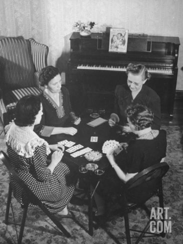 Women Gathering around a Card Table, Playing Bridge Premium Photographic Print at Art.com