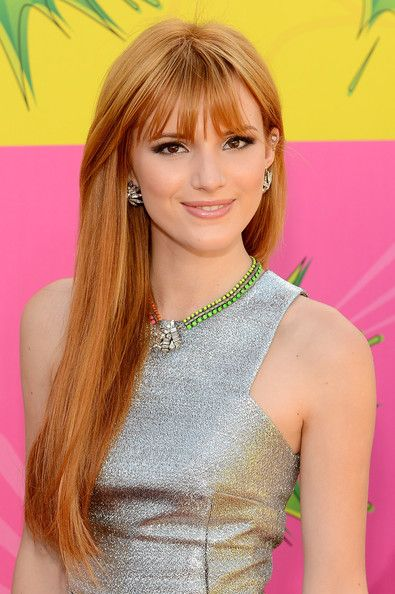 Bella Thorne Hair beautiful lite auburn - sleek cinnamon strands, few wispy bangs, makes a sweet sophisticated look ;-) Like much!