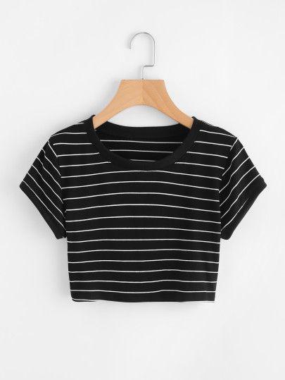 Camiseta corta de rayas