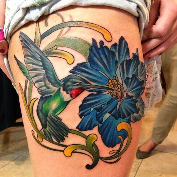 Hummingbird and larkspur. For memaw Larkspur tattoo