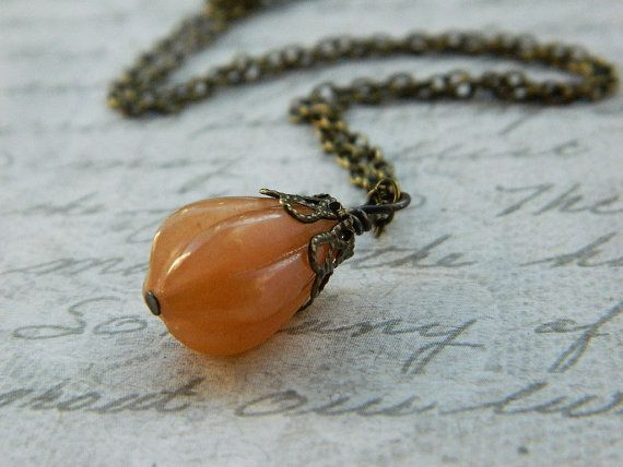 Red Aventurine Pendant  Necklace  Brown Cocoa Cinnamon by gabeadz