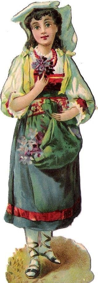 Oblaten Glanzbild scrap die cut chromo Lady Kind child Dame femme Blumen