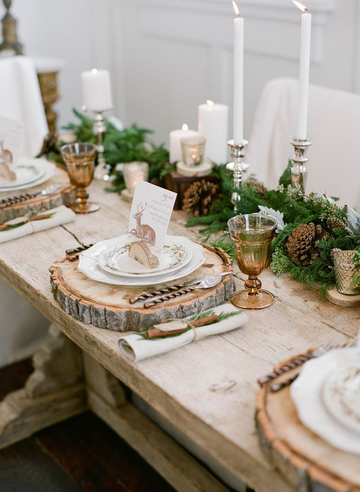 17 best ideas about rustic table settings on pinterest - Decoration de table en bois ...