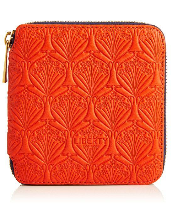 Liberty London Small Orange Iphis Leather Zip Around Wallet