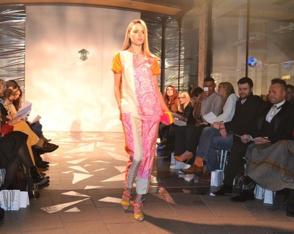 Top & trousers By Marlene Birger, shoes Sophia Webster @ Harvey Nichols Leeds SS13 fashion show