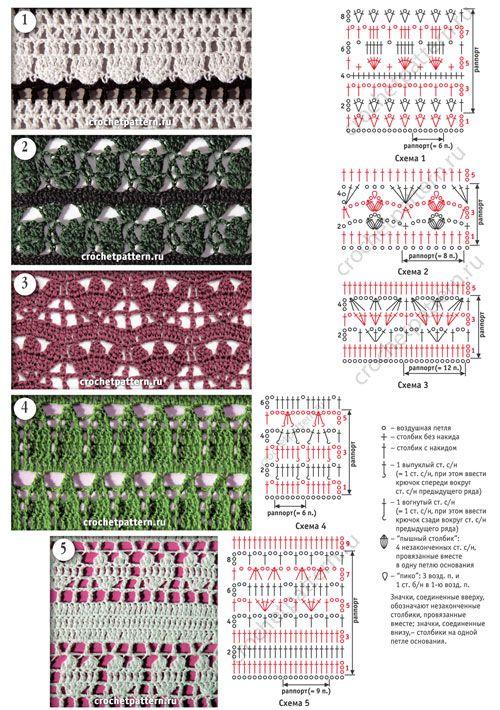 Ажурные узоры с мелкими раппортами со схемами для вязания крючком. Страница 121.
