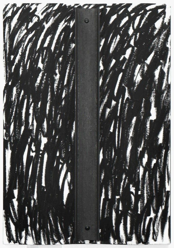 JANNIS KOUNELLIS Senza titolo, 1995 Steel and catrame on paper on steel 39 2/5 × 27 3/5 in 100 × 70 cm