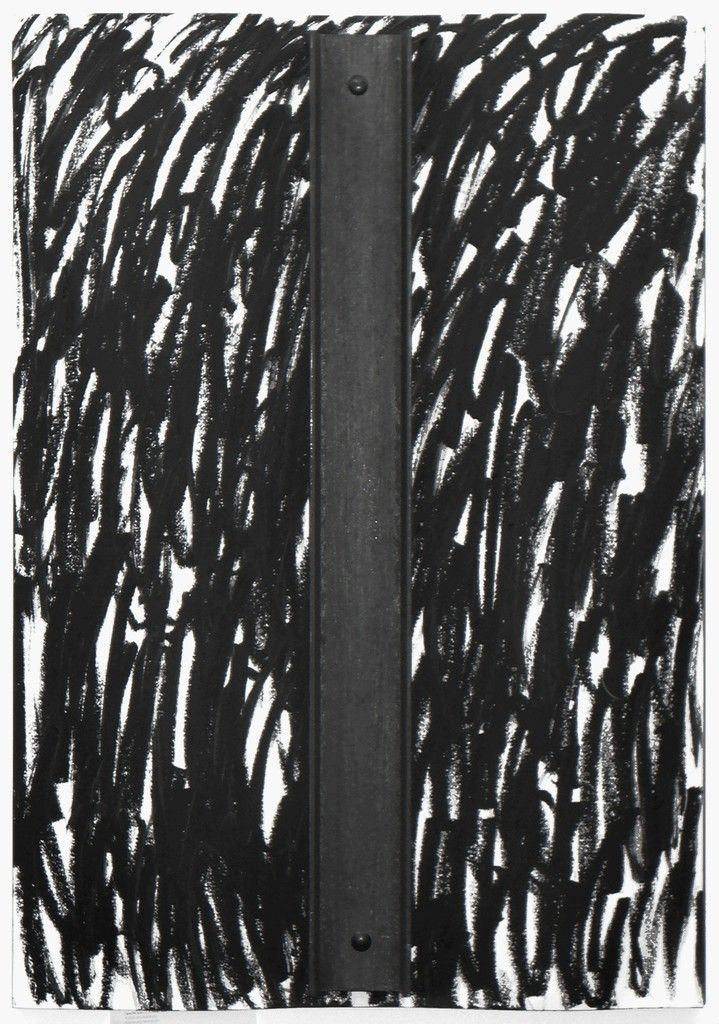 JANNIS KOUNELLIS Senza titolo, 1995 Steel and catrame on paper on steel 39 2/5 × 27 3/5 in 100 × 70 cm