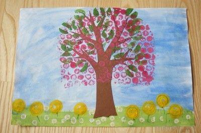 Wiosenne, kwitnące drzewko- praca plastyczna Spring Tree Blossoms. Crafts for Kids