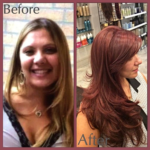 Transformation ! Going from light blonde to burgundy red, this new hairstyle will give you a whole new look to help you kick off the season. A long layered cut with a flip out blow dry to top off this fresh new look #beforeandafter #transformation#burgundyhair #blonde  #hair #layers #haircut #flipout #blowdry #shiny #healthyhair #newseason #newlook #aveda #loreal #nyc #brooklyn #bayridge #alamodesalonandspa #hairsalon #7184911100