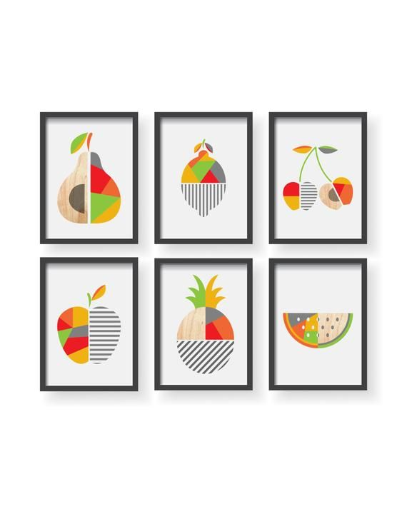 Geometric Fruit Kitchen Poster Modern Geometric Fruit Art Dining