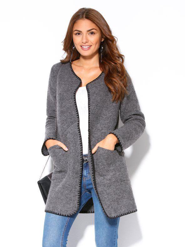 Abrigo mujer manga larga paño gris