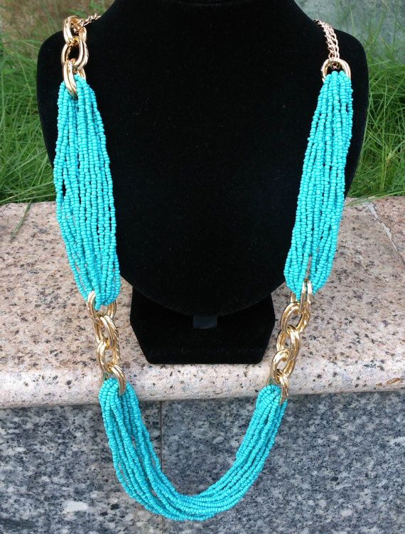 Turquoise Multi Strand Beadwork Long Necklace, Blue Beads Golden Chain Statement Necklace, Elegent Long Necklace