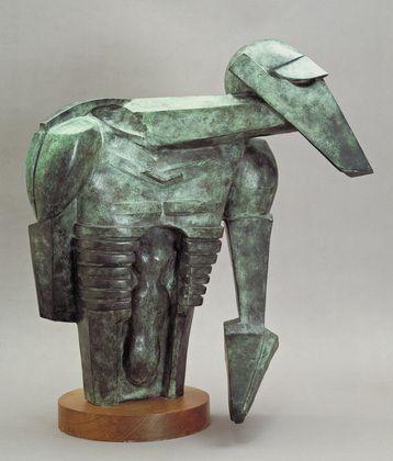 "The Rock Drill  Jacob Epstein (British, born U.S.A. 1880–1959)  1913-14 (cast 1962). Bronze, 28 x 26"" (71 x 66 cm) on wooden base. Mrs. Simon Guggenheim Fund  155.1962    The Museum of Modern Art  11 West 53 Street  New York, NY 10019  Copyright 2010"