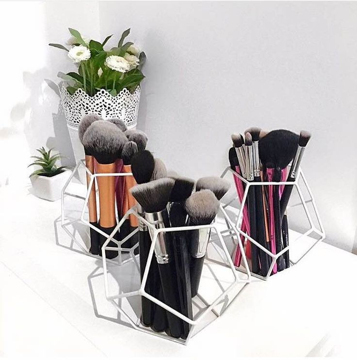 A Chic Kmart Hack: Update your makeup brush holder with Geo Shape in either white or black